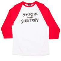 LONGSLEEVE 3/4 THRASHER SKATE & DESTROY RAGLAN (WHITE/RED)