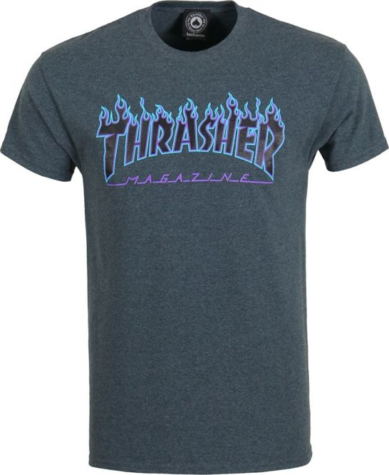 KOSZULKA THRASHER FLAME LOGO (DARK HEATHER)