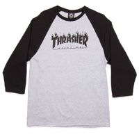 Longsleeve 3/4 Thrasher Flame Reglan Grey / Black
