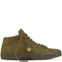 BUTY CONVERSE CONS ONE STAR PRO SUEDE MID (MEDIUM OLIVE/LIGHT FAWN)