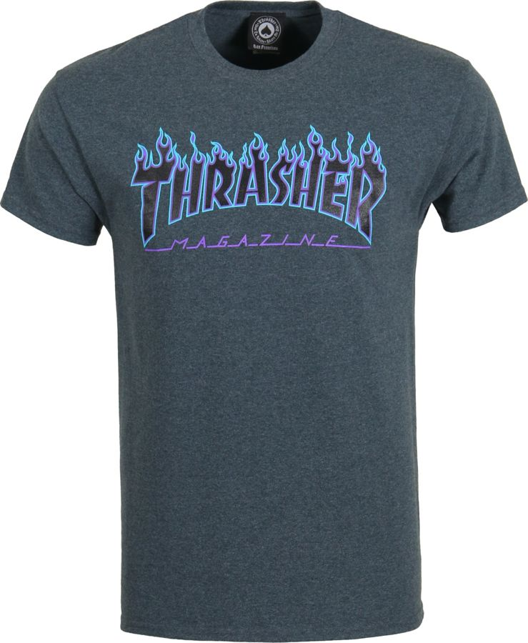 237e82e57e7a KOSZULKA THRASHER FLAME LOGO (DARK HEATHER)