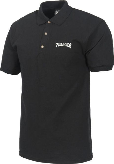 KOSZULKA POLO THRASHER EMBROIDERED LOGO (BLACK)