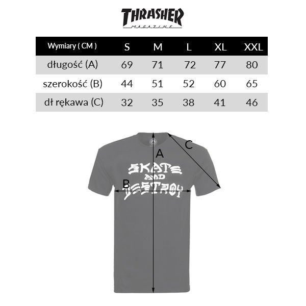 Koszulka Thrasher Skate and Destroy (Black / White)
